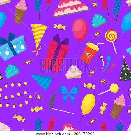 Cartoon Party Holiday Background Pattern on a Purple Flat Style Design Elements Celebration . Vector illustration