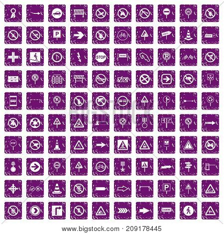 100 road signs icons set in grunge style purple color isolated on white background vector illustration