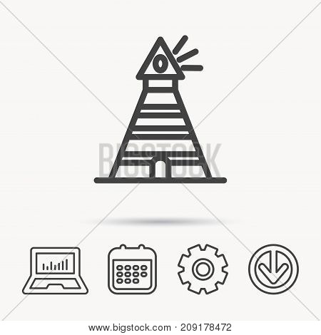 Lighthouse icon. Searchlight signal sign. Coast tower symbol. Notebook, Calendar and Cogwheel signs. Download arrow web icon. Vector