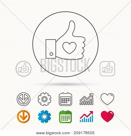 Thumb up like icon. Super cool vote sign. Social media symbol. Calendar, Graph chart and Cogwheel signs. Download and Heart love linear web icons. Vector