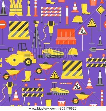Cartoon Road Construction Background Pattern on a Purple Flat Style Design Elements Transportation, Equipment and Street Sign. Vector illustration