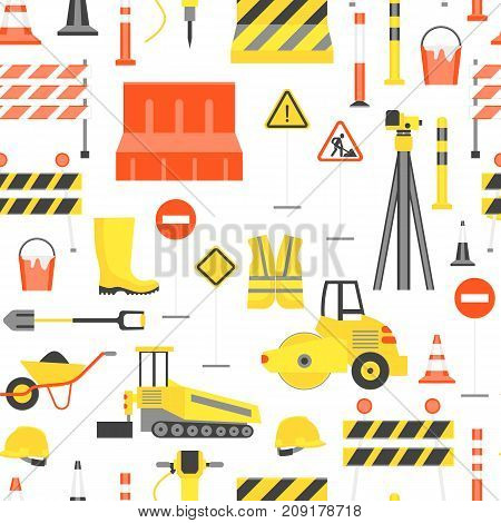 Cartoon Road Construction Background Pattern on a White Flat Style Design Elements Transportation, Equipment and Street Sign. Vector illustration