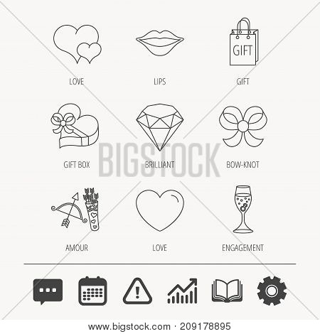 Love heart, brilliant and engagement ring icons. Bow, smile and gift box linear signs. Valentine amour arrows flat line icons. Education book, Graph chart and Chat signs. Vector