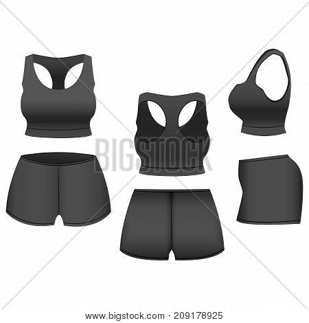 Realistic Template Blank Black Shorts and Top Basic Women Clothing for Sport, Fitness. Vector illustration