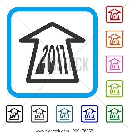 2017 Ahead Arrow icon. Flat grey iconic symbol in a light blue rounded rectangle. Black, gray, green, blue, red, orange color additional versions of 2017 Ahead Arrow vector.