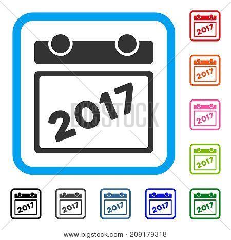 2017 Calendar Leaf icon. Flat grey iconic symbol inside a light blue rounded rectangle. Black, gray, green, blue, red, orange color variants of 2017 Calendar Leaf vector.
