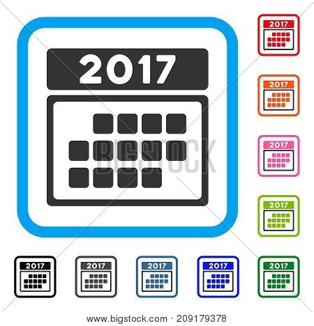 2017 Calendar Month Table icon. Flat grey iconic symbol inside a light blue rounded frame. Black, gray, green, blue, red, orange color variants of 2017 Calendar Month Table vector.