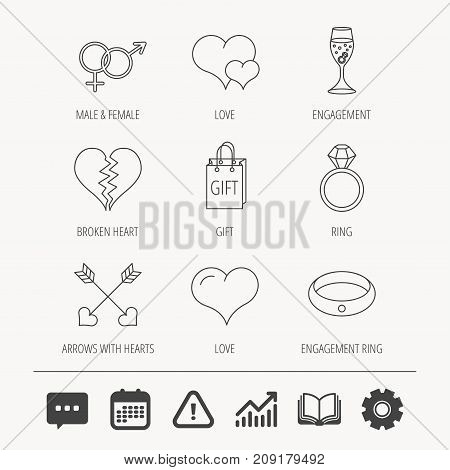 Love heart, gift box and wedding ring icons. Broken heart and engagement linear signs. Valentine amour arrows, brilliant flat line icons. Education book, Graph chart and Chat signs. Vector
