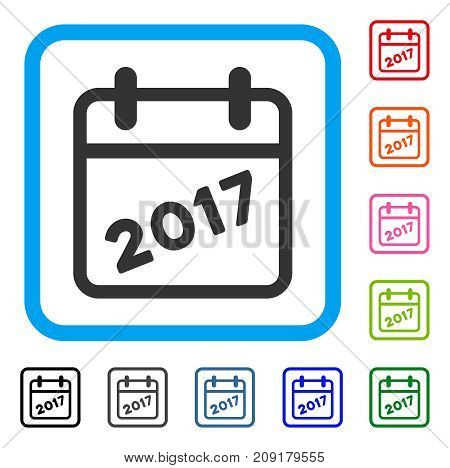 2017 Calendar icon. Flat gray pictogram symbol in a light blue rounded frame. Black, gray, green, blue, red, orange color additional versions of 2017 Calendar vector. Designed for web and software UI.