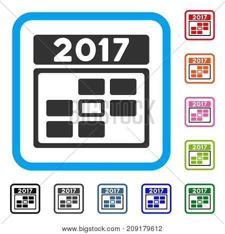 2017 Calendar Week Day icon. Flat gray pictogram symbol in a light blue rounded frame. Black, gray, green, blue, red, orange color versions of 2017 Calendar Week Day vector.