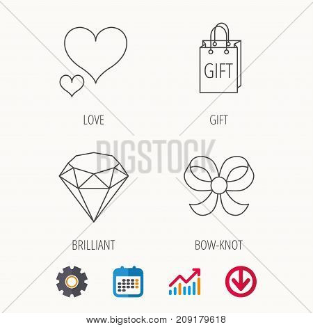 Love heart, gift bag and brilliant icons. Bow-knot linear sign. Calendar, Graph chart and Cogwheel signs. Download colored web icon. Vector