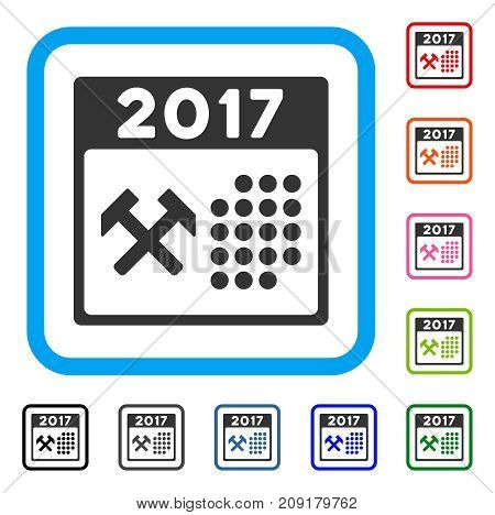 2017 Calendar Working Day icon. Flat gray iconic symbol in a light blue rounded square. Black, gray, green, blue, red, orange color versions of 2017 Calendar Working Day vector.
