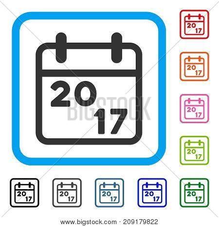 2017 Calendar icon. Flat grey iconic symbol inside a light blue rounded frame. Black, gray, green, blue, red, orange color variants of 2017 Calendar vector. Designed for web and application UI.