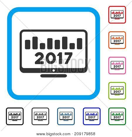 2017 Chart Monitoring icon. Flat gray iconic symbol inside a light blue rounded rectangle. Black, gray, green, blue, red, orange color additional versions of 2017 Chart Monitoring vector.