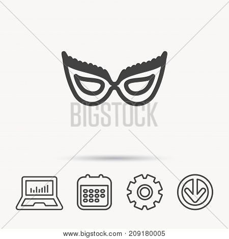 Festive mask icon. Masquerade carnival sign. Anonymous symbol. Notebook, Calendar and Cogwheel signs. Download arrow web icon. Vector