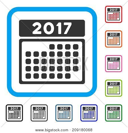 2017 Month Calendar Page icon. Flat gray pictogram symbol inside a light blue rounded frame. Black, gray, green, blue, red, orange color variants of 2017 Month Calendar Page vector.