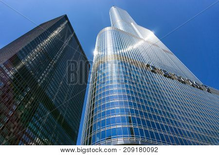 CHICAGO - MAY 12: Trump Tower and blue sky in Chicago on May 12 2017