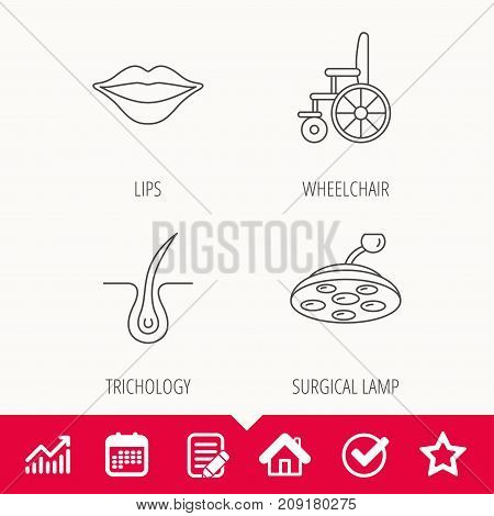 Trichology, surgical lamp and wheelchair icons. Lips linear sign. Edit document, Calendar and Graph chart signs. Star, Check and House web icons. Vector
