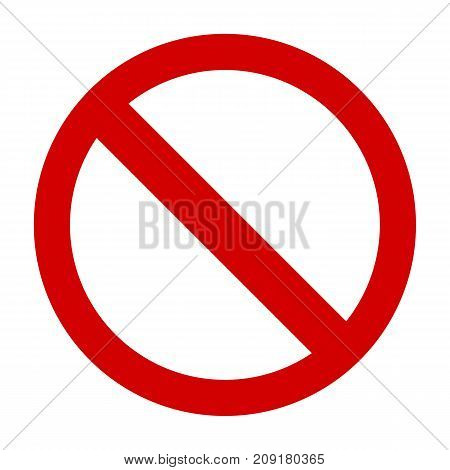 Prohibition sign or no sign icon vector simple isolated on white background
