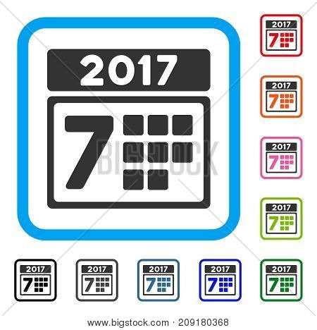 2017 Year 7Th Day icon. Flat gray iconic symbol in a light blue rounded rectangle. Black, gray, green, blue, red, orange color versions of 2017 Year 7Th Day vector.