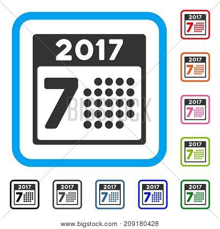 2017 Year 7Th Day icon. Flat gray pictogram symbol inside a light blue rounded square. Black, gray, green, blue, red, orange color additional versions of 2017 Year 7Th Day vector.