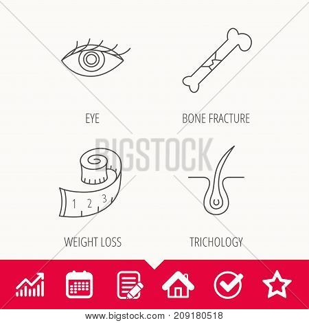 Bone fracture, weight loss and trichology icons. Eye linear sign. Edit document, Calendar and Graph chart signs. Star, Check and House web icons. Vector