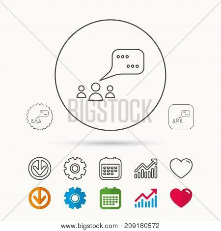 Meeting icon. Chat speech bubbles sign. Speak balloon symbol. Calendar, Graph chart and Cogwheel signs. Download and Heart love linear web icons. Vector