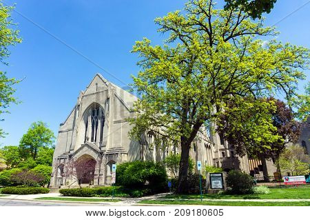 OAK PARK IL - MAY 14: First Methodist Church in Oak Park on May 14 2017