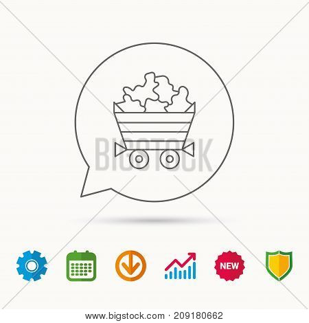 Minerals icon. Wheelbarrow with jewel gemstones sign. Calendar, Graph chart and Cogwheel signs. Download and Shield web icons. Vector