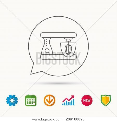 Mixer icon. Electric blender sign. Calendar, Graph chart and Cogwheel signs. Download and Shield web icons. Vector