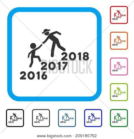 Annual Friends Stairs Help icon. Flat grey pictogram symbol in a light blue rounded rectangle. Black, gray, green, blue, red, orange color versions of Annual Friends Stairs Help vector.