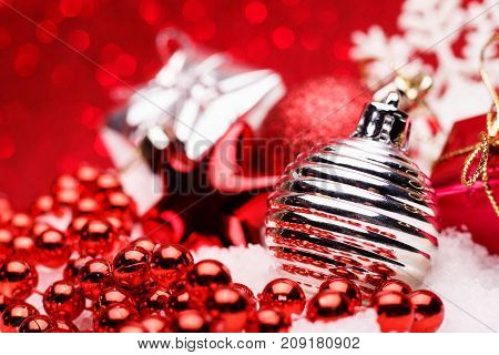 Christmas Composition Of Christmas Tree Toys On A Red Background