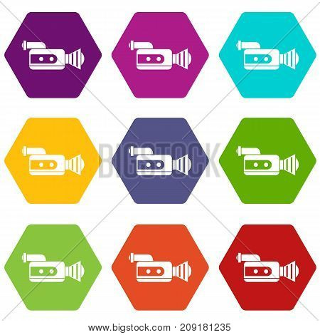 Retro camera icon set many color hexahedron isolated on white vector illustration