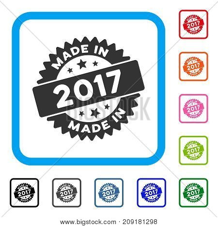 Made In 2017 Stamp icon. Flat gray iconic symbol inside a light blue rounded rectangular frame. Black, gray, green, blue, red, orange color additional versions of Made In 2017 Stamp vector.