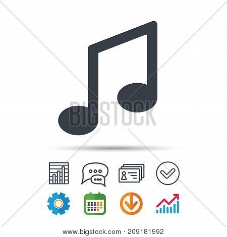 Music icon. Musical note sign. Melody symbol. Statistics chart, chat speech bubble and contacts signs. Check web icon. Vector