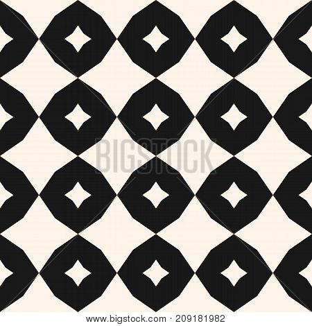 Vector geometric pattern with rhombuses, octagons, star shapes. Simple geometrical ornament. Modern abstract monochrome background texture. Repeat design for decor, prints, textile, floor, tiling.