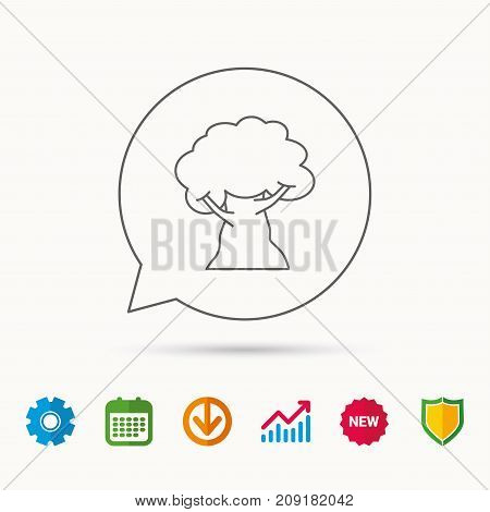 Oak tree icon. Forest wood sign. Nature environment symbol. Calendar, Graph chart and Cogwheel signs. Download and Shield web icons. Vector