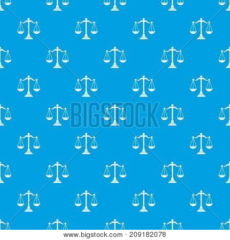 Balance scale pattern repeat seamless in blue color for any design. Vector geometric illustration