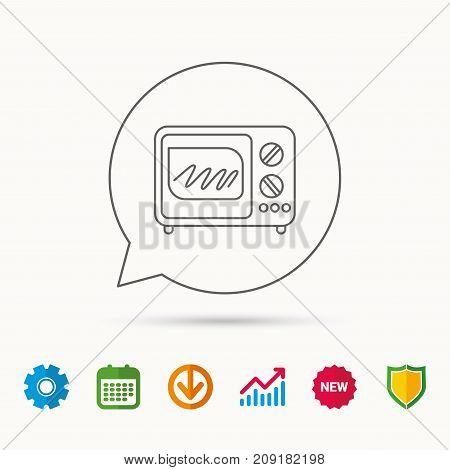 Microwave oven icon. Kitchen appliance sign. Calendar, Graph chart and Cogwheel signs. Download and Shield web icons. Vector