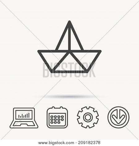Paper boat icon. Origami ship sign. Sailing symbol. Notebook, Calendar and Cogwheel signs. Download arrow web icon. Vector