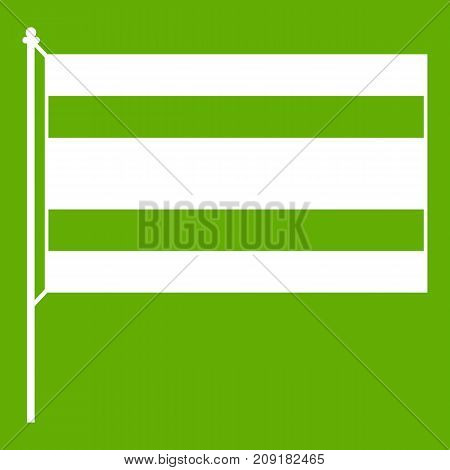 Flag icon white isolated on green background. Vector illustration
