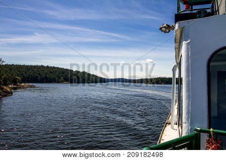 San Juan Islands waterway from onboard ferry Evergreen State, Washington