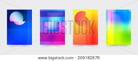 Brochure gradient cover template set. Abstract modern covers for magazine, printing products, flyer, presentation, brochures or booklet. Vector illustration.