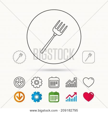 Pitchfork icon. Agriculture sign symbol. Calendar, Graph chart and Cogwheel signs. Download and Heart love linear web icons. Vector