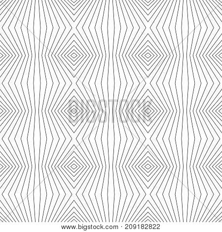 Geometric lines pattern. Vector seamless texture with thin refracted stripes. Abstract monochrome striped background, repeat tiles. Black & white design for decoration, covers, digital, web. Stripes pattern.
