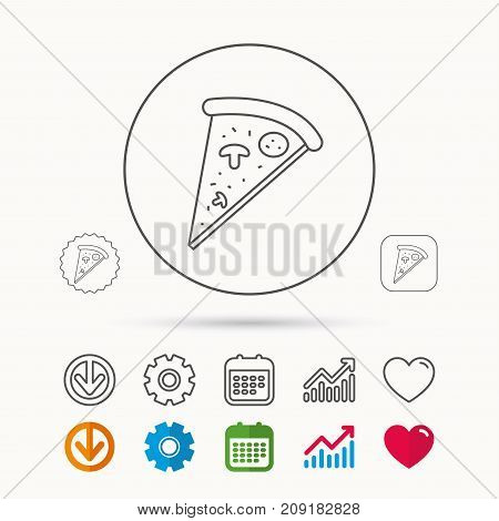 Pizza icon. Piece of Italian bake sign. Calendar, Graph chart and Cogwheel signs. Download and Heart love linear web icons. Vector