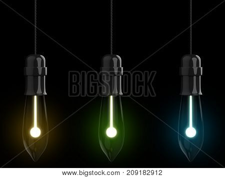 Christmas light bulbs hanging on the wire isolated on black background. 3D rendering. Yellow, green and blue lights set.