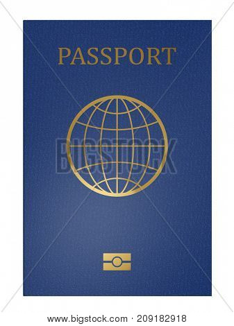 Blue international passport front cover isolated on white background. 3D rendering.