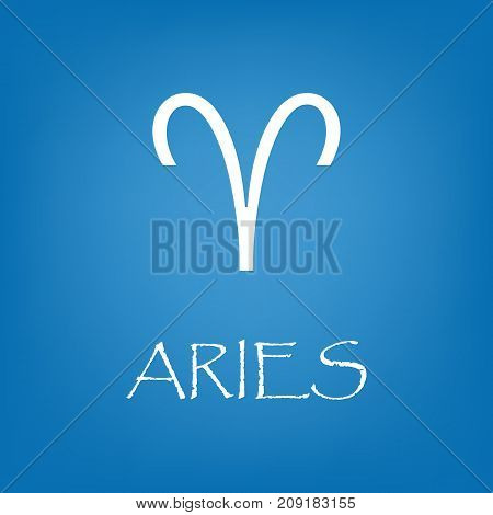 Aries zodiac sign icon. Vector simple illustration of Aries zodiac sign icon on blue background for any web design