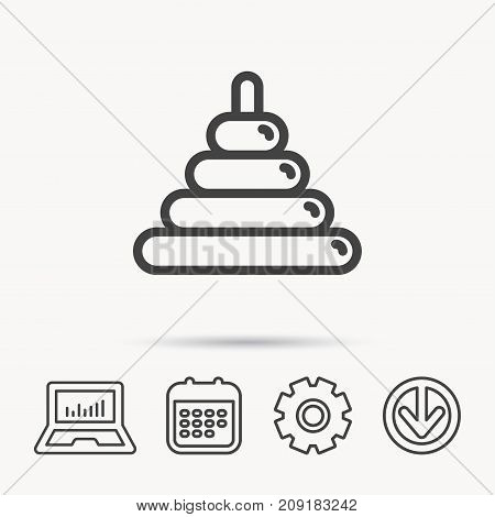Pyramid baby toy icon. Child tower game sign symbol. Notebook, Calendar and Cogwheel signs. Download arrow web icon. Vector